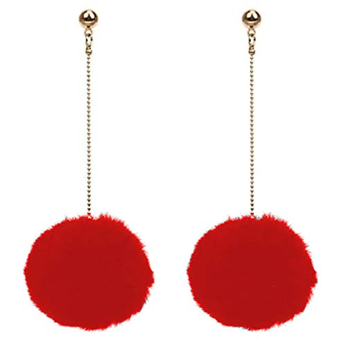 (Flairs New York Faux Fur Pom Pom Drop Dangle Earrings (Rouge Red/Gold, Pack of 1 Pair) )