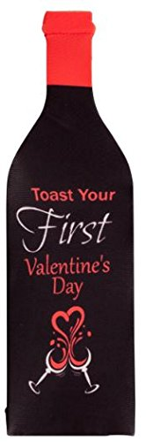First Valentines Day- Toast The Firsts Wine Bottle Cover - Bridal Shower Gift - 1 piece 750ml Wine Gift Baskets