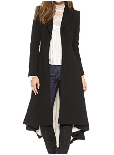 - Tootless-Women Unique Hem Line Ruffled Lapel Wool Blends Oversized Peacoat Black XS