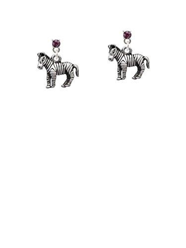 2-D Zebra Purple Crystal Post ()