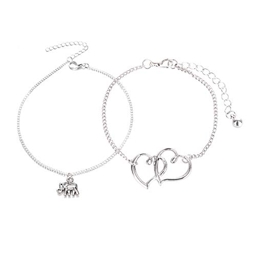 Hanloud 2pcs Set Vintage Love Heart Elephant Anklet Classic Heart Animal Silver Chain Anklet Bracelet Foot Chain For Women
