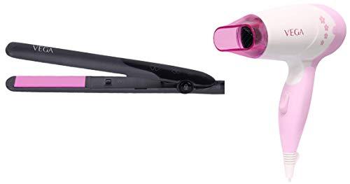 VEGA Adore Hair Straightener  VHSH 18 , Colour May Vary  amp; Vega Insta Glam 1000 Hair Dryer  White