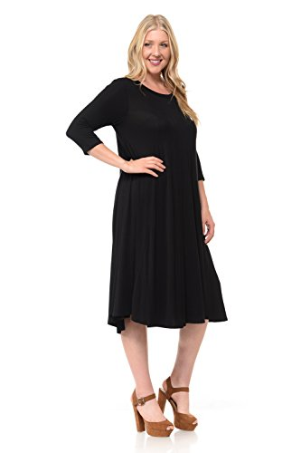 86a185e4d79 Pastel by Vivienne Women s A-Line Trapeze Midi Dress Plus Size XXX-Large  Black