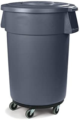 Excellante 5 Caster Trash Can Dollies 18-Inch by 6-Inch Black Plastic