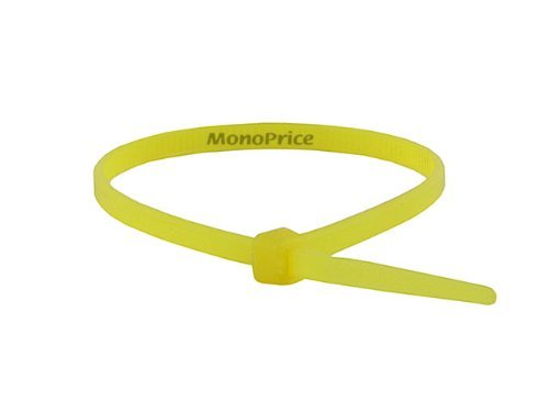 Monoprice Cable Tie 4 inch 18LBS, Yellow (2 Packs of 100)