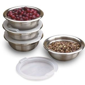 RSVP Endurance 18/8 Stainless Steel Prep Bowls Set with Lids, 4-Bowls, 4-Lids