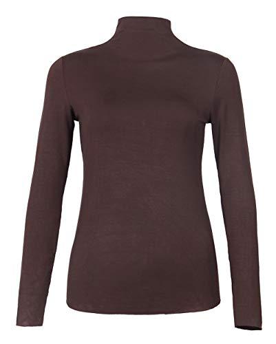 GEMBERA Women's Basic Long Sleeve Mock Turtleneck Layering T Shirt Tops (Coffee, L) ()