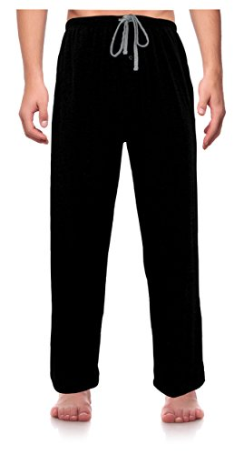 RK Classical Sleepwear Men's Knit Pajama Pants, Size XXX-Large Black (Big Mens Fleece Pajama Pants)