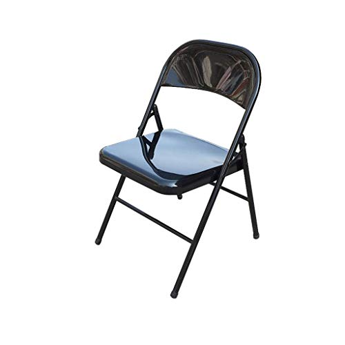 QYYCzdy Folding Chair Office Reception Staff Meeting Chair Steel+Faux Leather (Black) (Reception Leather Faux)