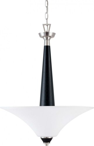 Nuvo 60/1748 Three Light Pendant With Satin White Glass With Ebony Wood, Brushed Nickel