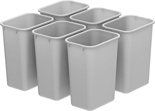 Storex Medium Waste Basket, 15 x 10.5 x 15 Inches, Gray, Case of 6 (STX00711U06C) ()