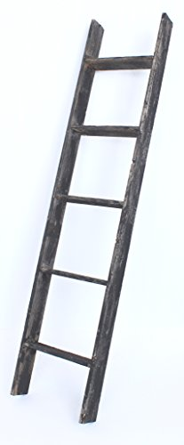 BarnwoodUSA Reclaimed Wood Bookcase Ladder (5 Foot, Black)
