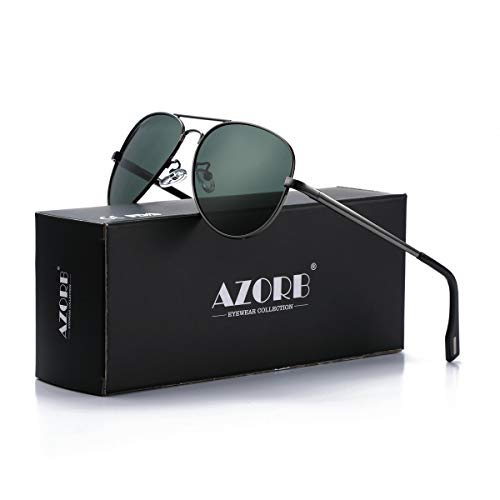 AZORB Polarized Aviator Sunglasses Mirrored Lens Metal Frame for Men Women, 100% UV 400 Protection (Gunmetal/G15)
