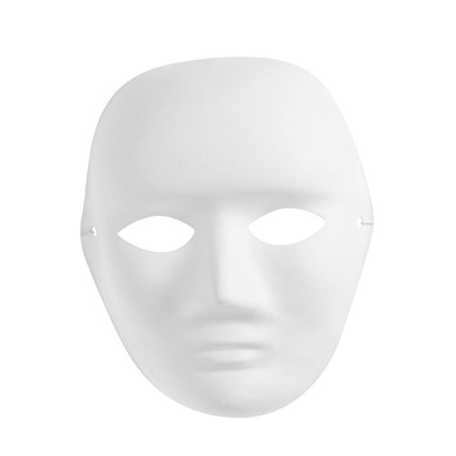 Amosfun Men's Portrait Mask Painting Mask Full Face Costume Pulp Blank White Mask for DIY Paint Halloween Party -