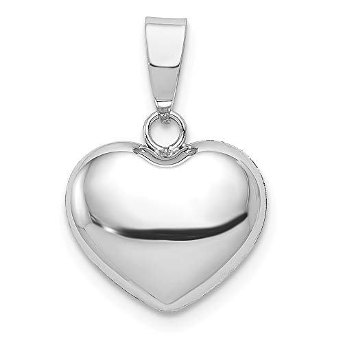 (JewelrySuperMart Collection 14k Gold Hollow Small Puffed Heart Pendant Charm - (White Gold, 0.63 Inch Height))