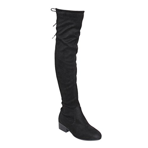 BONNIBEL GF68 Women's Lace Up Inside Zipper Low Heel Over Knee High Boots, Color:BLACK, Size:9 (Lace Up Stretch Boot)