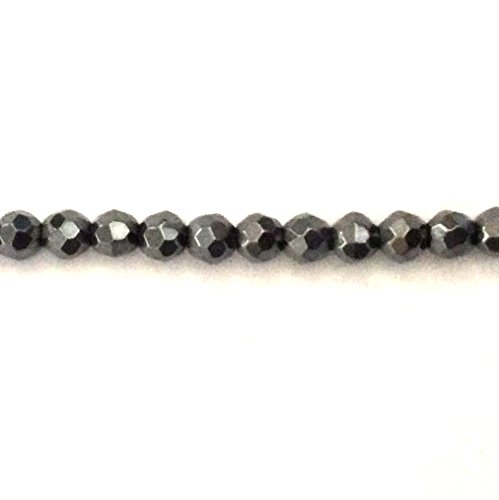 [Real Faceted Hematite 4mm Round Non-Magnetic Spacer Beads 15.5'' Inches for Bracelet Necklace Earrings Jewelry Making Crafts] (Hematite Oval Bracelet)