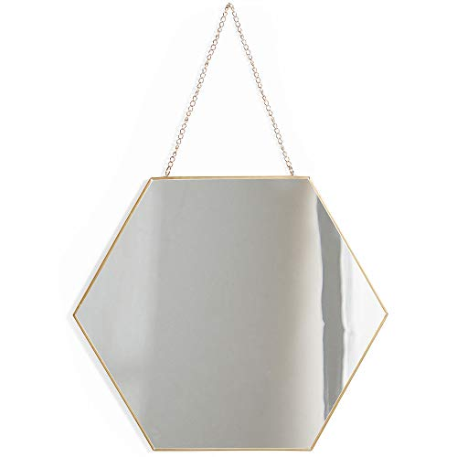Beautify Hexagon Wall Mirror Decorative Vanity Mirror with Hanging Chain and Brass Finish for Living Room, Bedroom, Bathroom and Dining Room 12-Inch ()