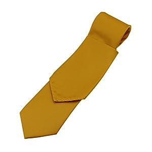 Solid Satin Men's Necktie and Pocket Square set in Honey Gold