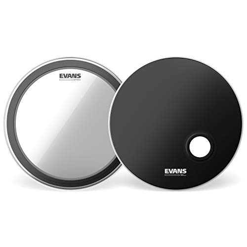 """Evans EMAD System Pack, 22"""" (2pc) - Includes Batter Bass Drumhead and Resonant Drumhead -Externally Mounted Adjustable Damping System Allows Player to Adjust Attack and Focus Without Removing Drumhead"""