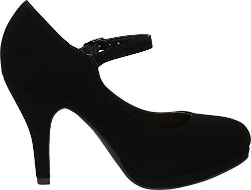 Round Toe Women's Comfort Heel Mary Pump Platform Jane High Padded Stiletto Select Buckle Nbpu Black Cambridge qwxSCptS