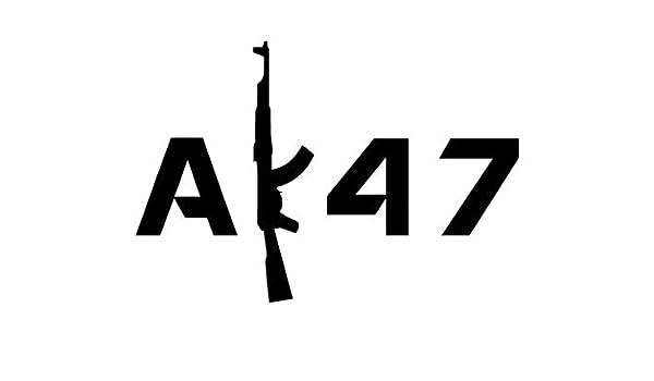Amazon com: AK47 Gun Text - Vinyl Decal Sticker, Die cut