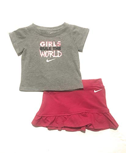 Nike Infant Girls T-Shirt and Skort Set Grey Heather/Rush Pink 24 Months