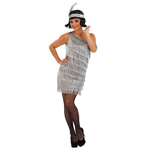 fun shack 20s, Womens Sample Silver Asymmetric Flapper Girl, -