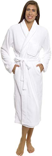 Silver Lilly Womens Plush Wrap Kimono Loungewear Robe (White, XXL) ()