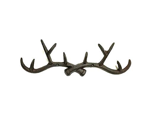 Cast Iron Antler Deer Elk Hooks Wall Hunting Decor