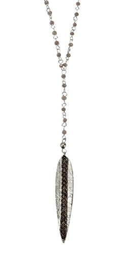SPUNKYsoul New! Long Rosary Chain Statement Dagger Y Pendant Necklace Silver for Women Collection