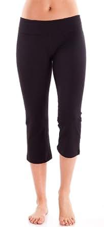 Ladies Black Capri Yoga Pants 3/4 Length