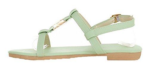 Pu Women's Heels WeiPoot EGHLG004902 Low Buckle Open Solid Toe Green Sandals 7x6xBRYq