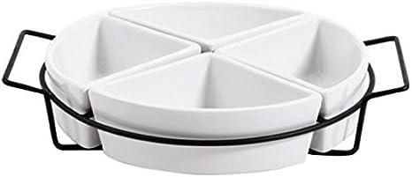 3-Tier Oval Bowl Set with Metal Rack White Gibson Elite Gracious dining Dinnerware