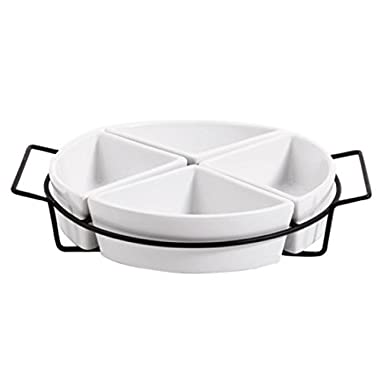 Gibson Gracious Dining Four Section Tray Set Ware with Metal Rack, White