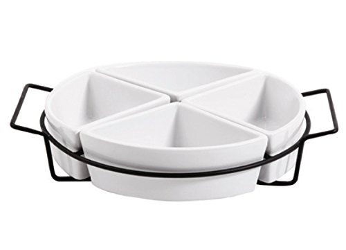 Gibson Gracious Dining Four Section Tray Set Ware with Metal Rack, White 4 Mug Tray