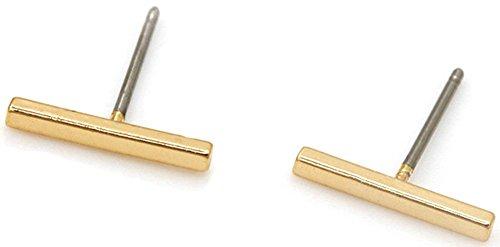 RoseSummer Mini Geometric Minimalist Delicate Ear Stud Bar Earring in Gold Silver Black Stylish
