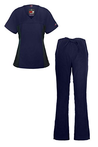 MediFit Women's Mock Wrap Medical Top & Pants Scrub Set(SET-MED,DBL-L) (Women Army Uniforms)