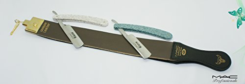 "Professional Gold Quality Sharpening Strop Made of Real Leather 3"" Wide and 22"" Long With 2 Professional Straight Razors-539"