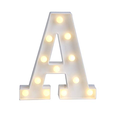 DEALPEAK Light Up Letters,Alphabet LED Letter Lights Warm White for Home Party Bar Wedding Festival Decorative (A) ()