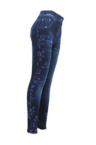 Longueur Skinny Motifs Pantalon Jeans Pantalon Occasionnels Blue10 Taille Crayon Des Pleine Les Legging Haute Floraux Cgq1xRxw