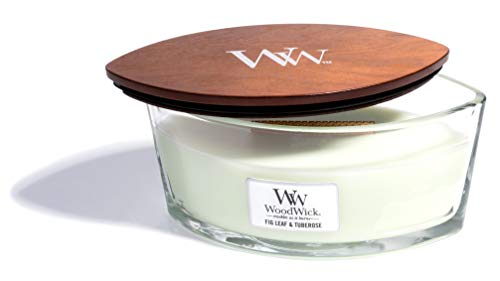 (WoodWick Fig Leaf & Tuberose, Highly Scented Candle, Ellipse Glass Jar with Original HearthWick Flame, Large 7 Inches, 16 OZ)