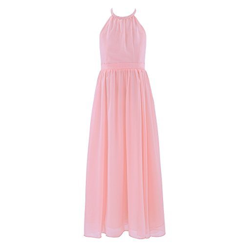 iEFiEL Summer Wedding Junior Bridesmaid Chiffon Long Dress Flower Girl Teens Ceremony Gown Pearl Pink 14