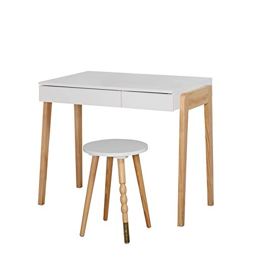 (The Mezzanine Shoppe 90092WHT Riley Modern Two Tone Home Office Desk and Stool Set, 2 Piece, White)