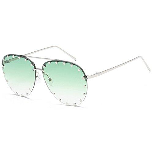 soleil Vert et demi lunettes mode Aiweijia Mâle de Rivet soleil femelle de lunettes cadre rétro Oqwxx65Y