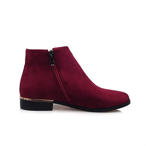 Boots Claret Solid Toe Womens Heels Closed Round Suede Imitated AllhqFashion Low Zipper Pvn6xYw
