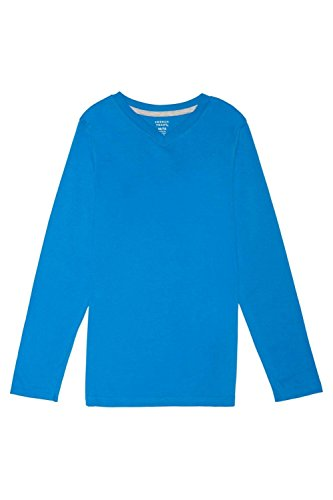 French Blue Apparel - French Toast Little Boys' Long Sleeve V-Neck Tee, French Blue, 5