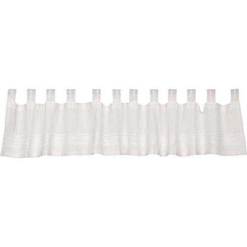 (VHC Brands Farmhouse Kitchen Window Curtains - Jasmine White Tab Top Valance, 16