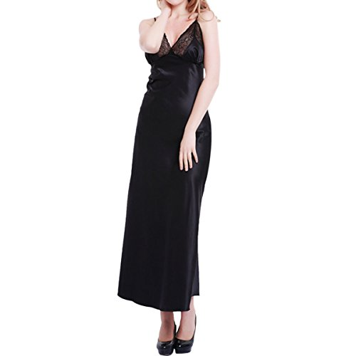 LAPAYA Women's Satin Slip Dress Lace Trim V Neck Full Length Camisole Nightgowns, Black, Tag size XXL=US size L
