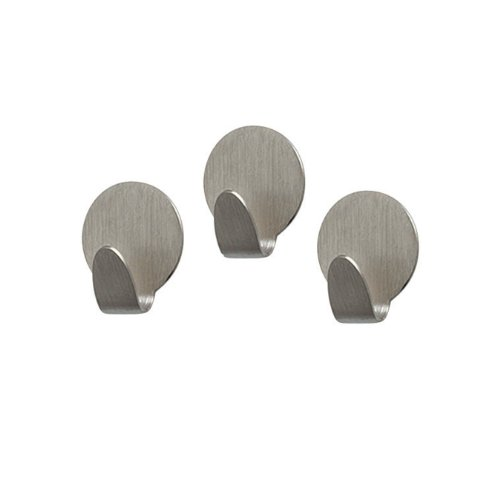 Spectrum Diversified Magnetic Medium Round Hooks, Set of 3, Brushed ()